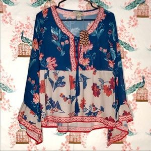 Flying Tomato: Blue Boho Blouse NWT